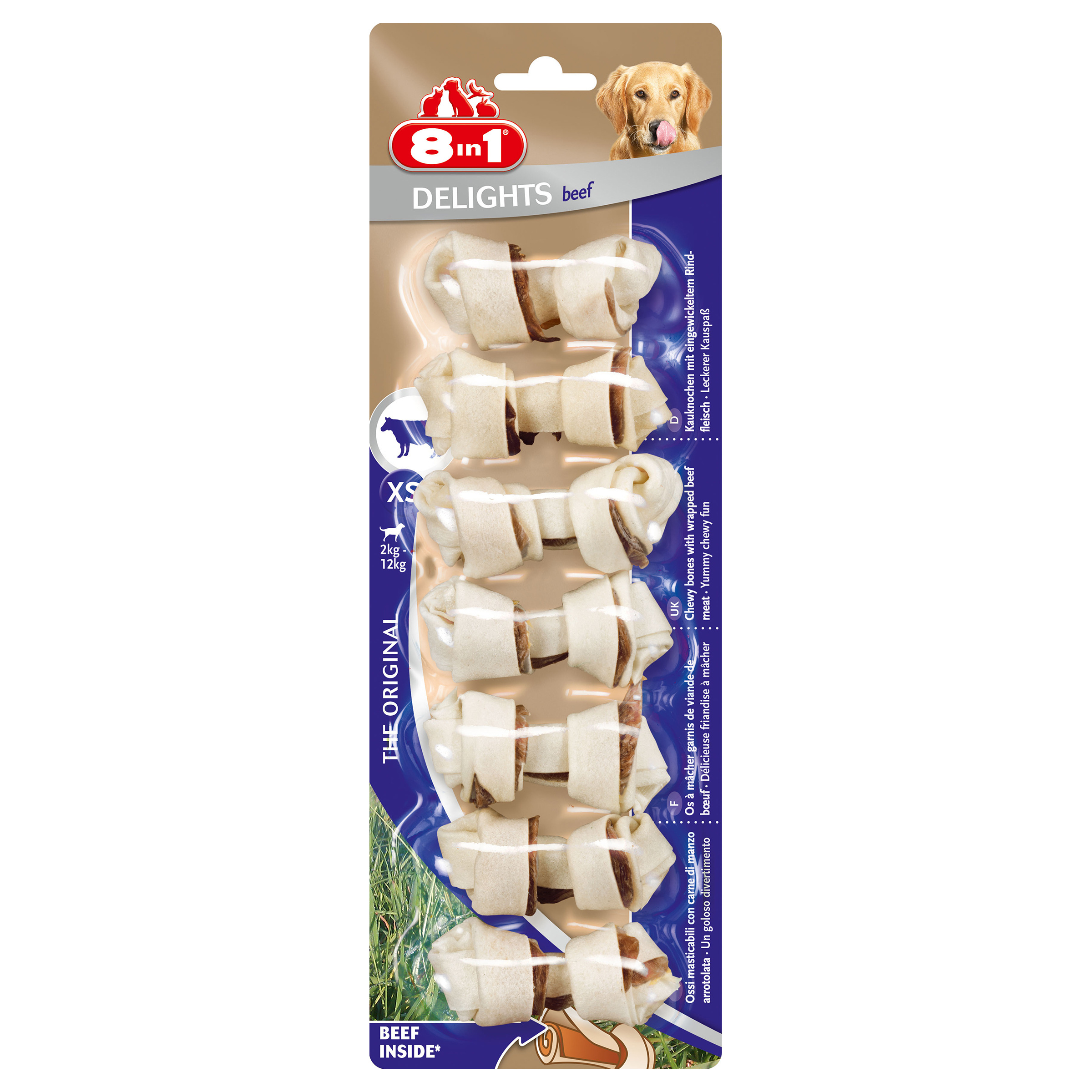 Image of 8in1 Delights Beef XS 7 Stück 80g