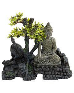 Deep Sea Aquariumdekoration Buddha auf Stein 19.5x9x16.5cm