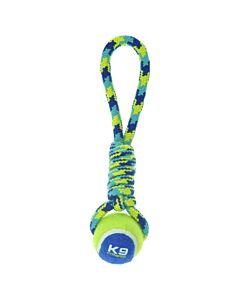 Zeus Hundespielzeug K9 Fitness Tennis Ball Rope Tug