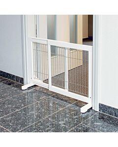 Barrière pour chiens, bois, 65–108 × 61 cm, blanc