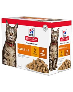 Hill's Katze Science Plan Adult Nassfutter Multipack Huhn & Pute 12x85g