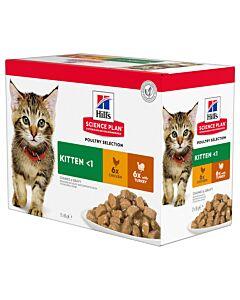 Hill's Science Plan Katze Kitten Huhn x 6 + Truthahn x 6 Multipack Frischebeutel 12x85g