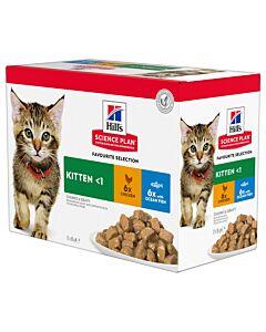 Hill's Katze Science Plan Kitten Nassfutter Multipack Huhn & Meeresfisch 4x12x85g