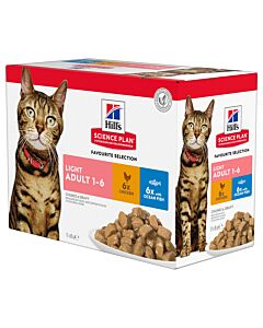 Hill's Katze Science Plan Adult Light Nassfutter Mixed Multipack 12x85g