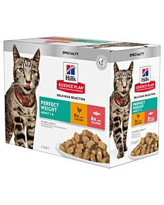Hill's Katze Science Plan Adult Perfect Weight Nassfutter Multipack Huhn & Lachs 12x85g