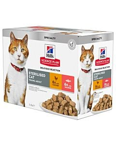 Hill's Katze Science Plan Young Adult Sterilised Cat Nassfutter Multipack Huhn & Lachs 12x85g