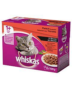 Whiskas 1+ Fleisch Auswahl in Sauce 12x100g