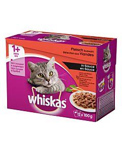 Whiskas 1+ Fleisch Auswahl in Sauce4x12x100g