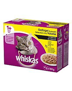 Whiskas 1+ Geflügel Auswahl in Sauce  4x12x100g