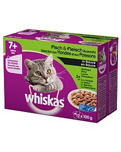 Whiskas 7+ Fisch & Fleisch Auswahl in Sauce 12x100g M