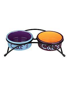 Set écuelles Eat On Feet, céramique, 2 × 0,3 l/ø 12 cm, bleu clair/orange/lilas