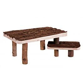 Abri avec escalier en bois naturel 37x17x28cm
