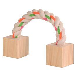 Trixie Baumwollspielseil mit Holz 20cm