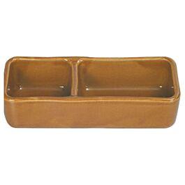 Bol en céramique pour rongeurs divisé en deux brun