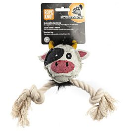 Freezack Hundespielzeug Kuh mit Ball & Seil