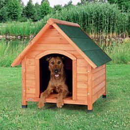 natura niche pour chiens avec pignon, M: 77 × 82 × 88 cm, naturel
