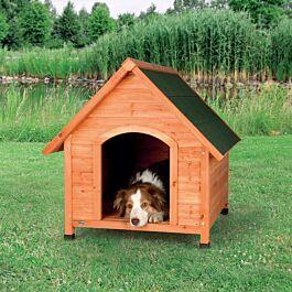 natura niche pour chiens avec pignon, M–L: 83 × 87 × 101 cm, naturel