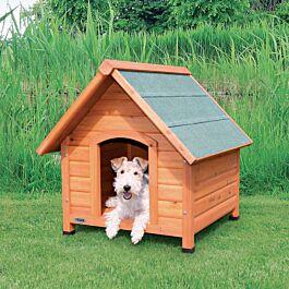 natura niche pour chiens avec pignon, S–M: 71 × 77 × 76 cm, naturel
