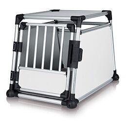 Box de transport, aluminium, M–L: 63 × 65 × 90 cm, argent/gris clair