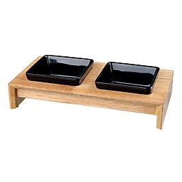 Napf-Set Keramik/Holz 2x0.2l