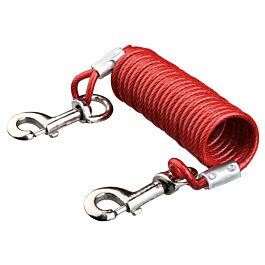 Trixie Laisse avec câble d'attache en spirale rouge 5m