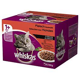 Whiskas 1+ Fleisch Auswahl in Sauce 24x100g