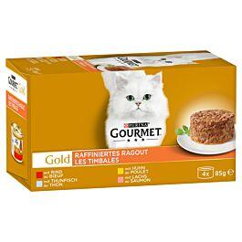 Gourmet Gold Raffiniertes Ragout - Rind, Huhn, Lachs, Thunfisch 4x85g