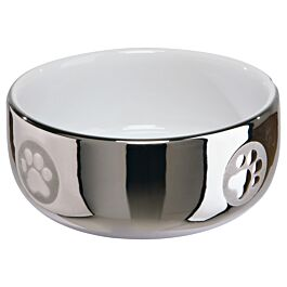 Ecuelle chat, céramique, 0,3 l/ø 11 cm, argent/blanc