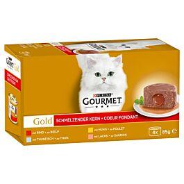 Gourmet Gold Schmelzender Kern - Rind, Huhn, Lachs & Thunfisch