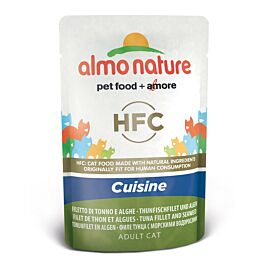 Almo Nature Katzenfutter HFC Jelly Thunfischfilet & Algen in 55g Beutel