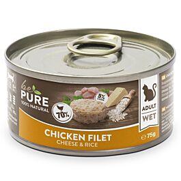 bePure Nassfutter Katze Adult Huhn mit Käse & Reis