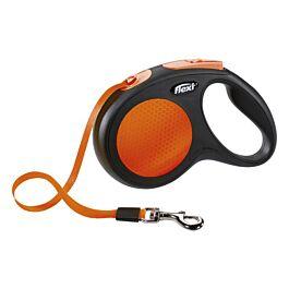Flexi Laisse à enrouler New Neon Sangle orange-néon 5m
