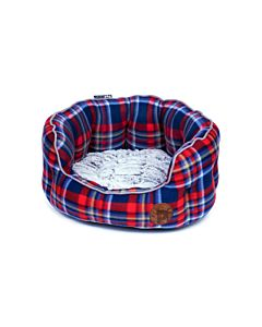 Petface Blue Fleece Check Oval Bed